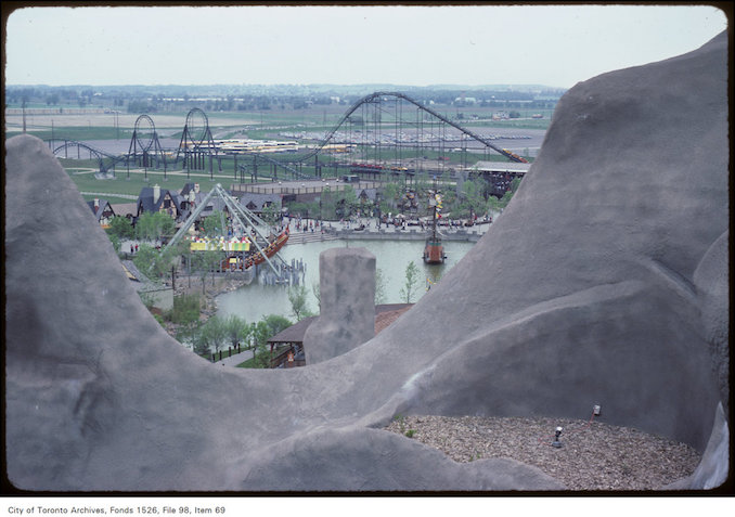 1981 - june 8 - View of roller coaster and grounds of Canada's Wonderland from Wonder Mountain