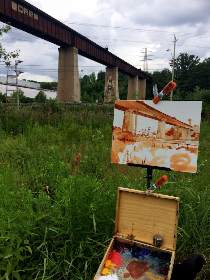 Painting on location in Toronto at the Brickworks - JD