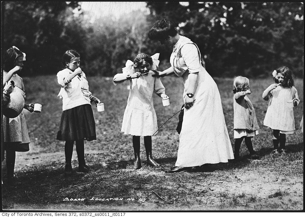 1913 - High Park - Forest School. polishing teeth