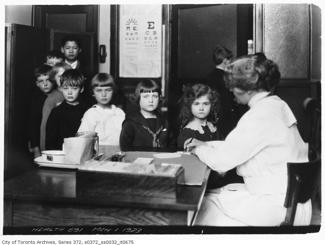 1923 - Class room inspection. Public School