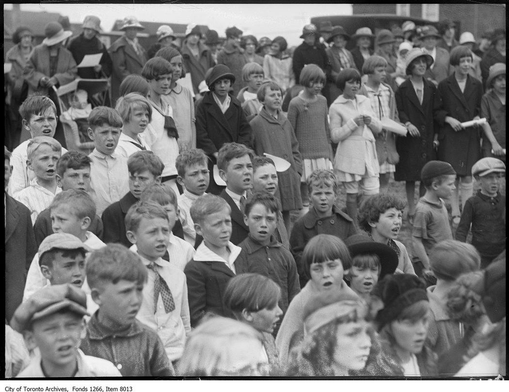 1926 - Adam Beck School cornerstone, group of children