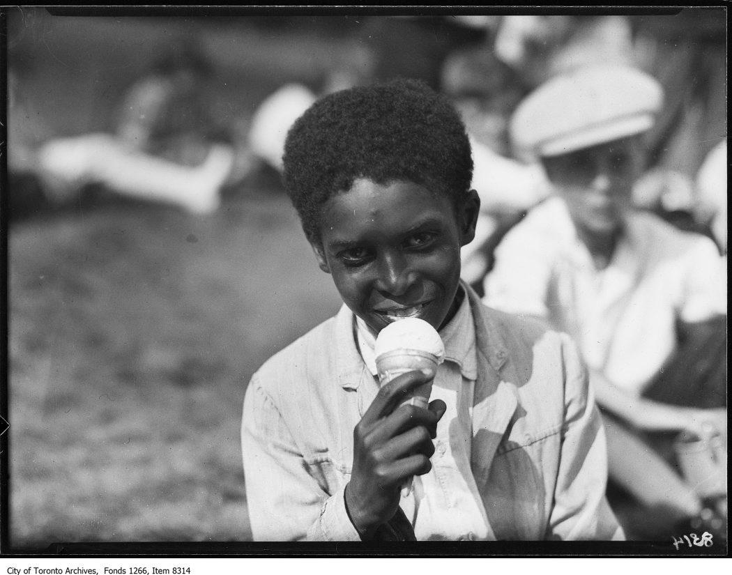 1926 - Victoria Park Forest School, child eating ice-cream cone