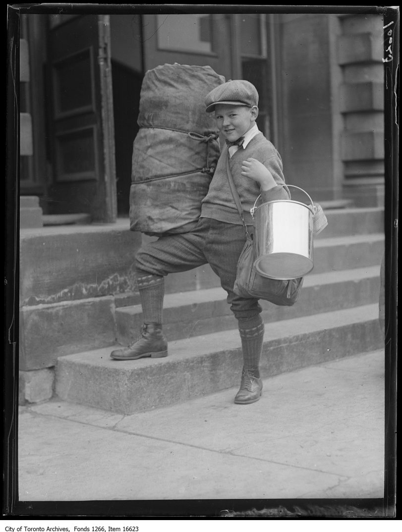 1929 - Normal School Caravan, smallest boy with bucket