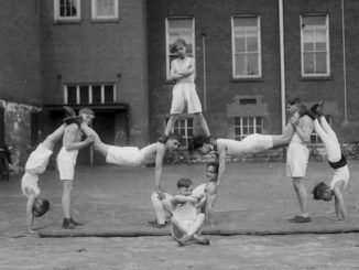 Junior Vocational School, pyramid by gym class. - April 16, 1930