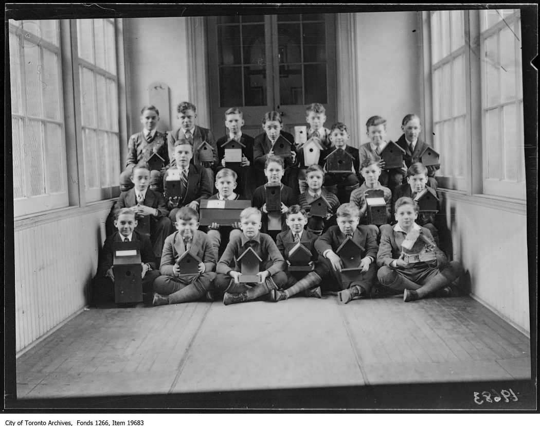1930 - Normal School, boys with bird houses