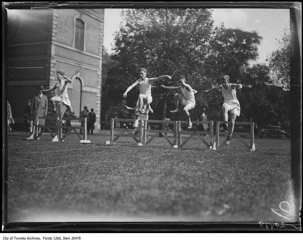 1930 - Normal School games, hurdle race, under 15