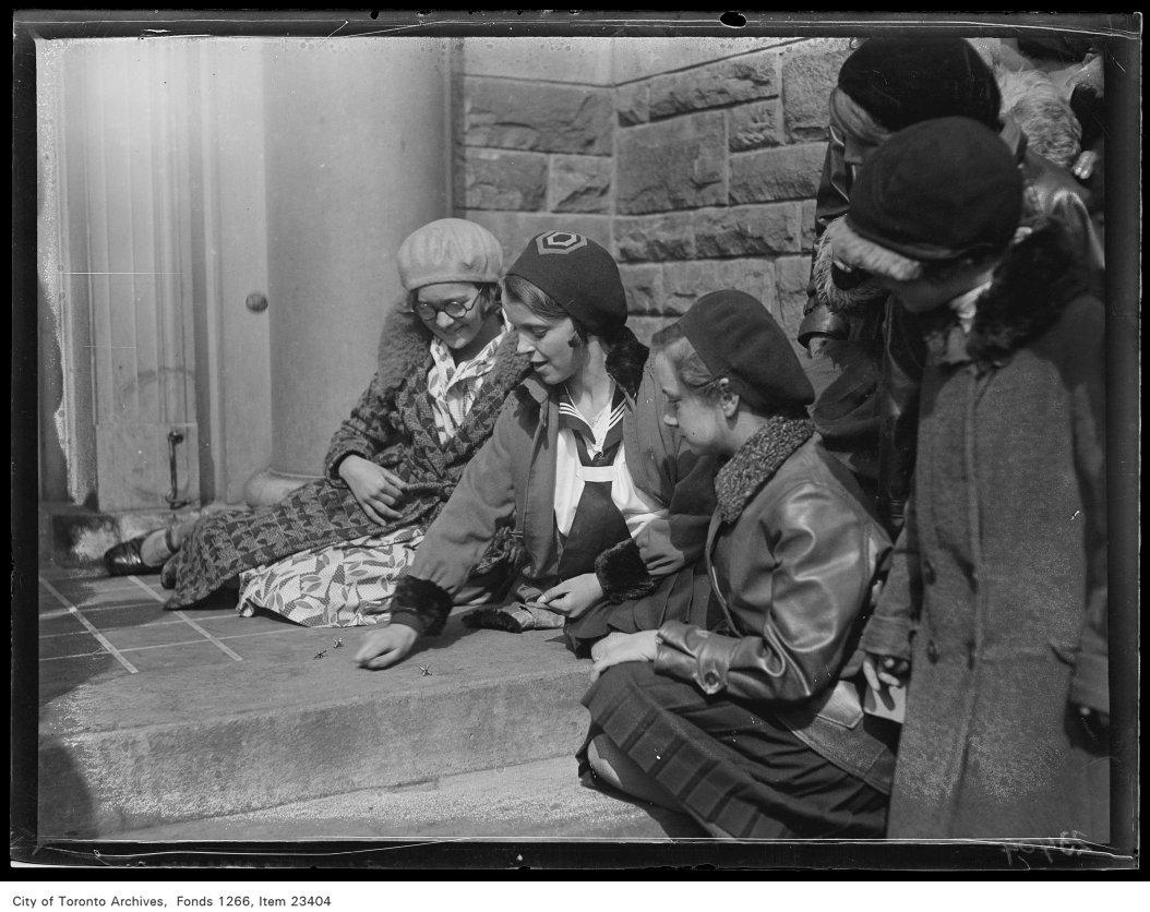 1931 - Runnymede School, girls playing jacks