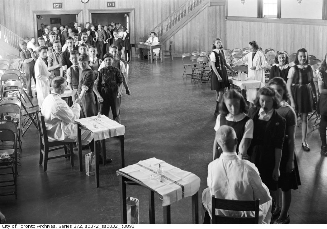 1942 - Inoculations for High School Students in gymnasium of High School