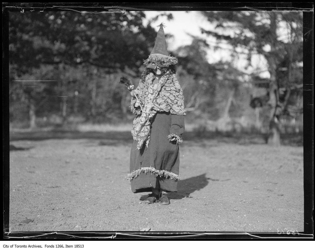 1929 - oct 28 - Victoria Park Forest School, Halloween party, witch costume