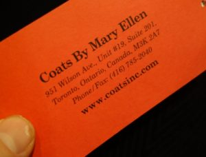 coats made in Toronto by Mary Ellen