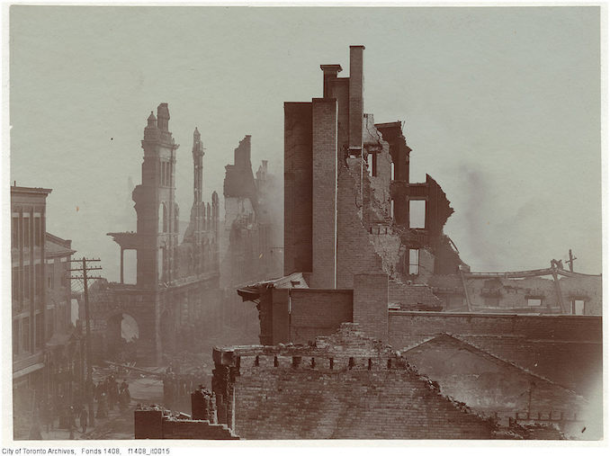 1904 - Aftermath of the 1904 fire: Bay Street north of Wellington, looking south