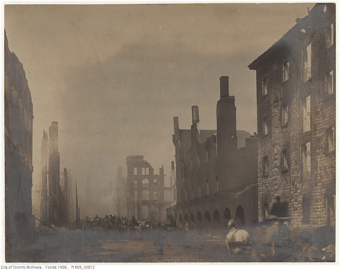 1904 - Aftermath of the 1904 fire: Bay Street north of the Esplanade, looking north