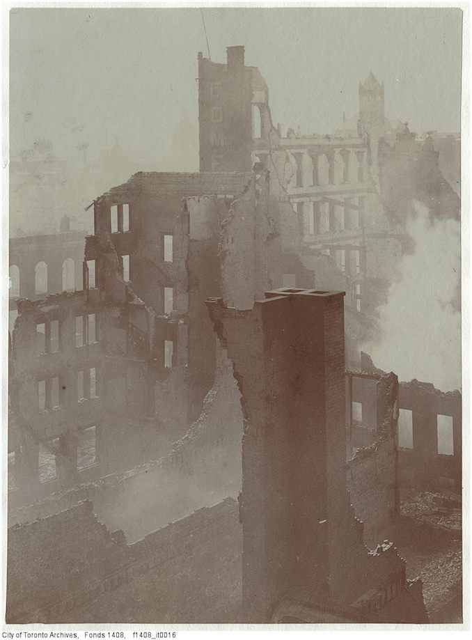 1904 - Aftermath of the 1904 fire: east of Bay Street, looking south-west