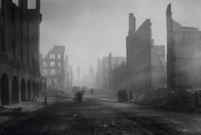 1904 - aftermath of fire, Bay St., looking north from north of Esplanade W., Toronto, Ont