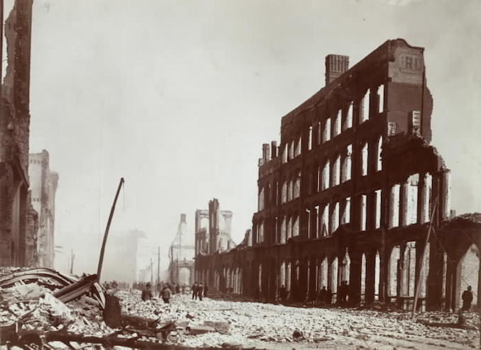 1904 - aftermath of fire, Front St. W., e. from w. of Bay St.