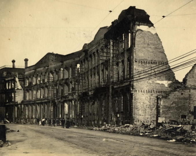 1904 - aftermath of fire, Front St. W., s. side, looking e. towards Yonge St