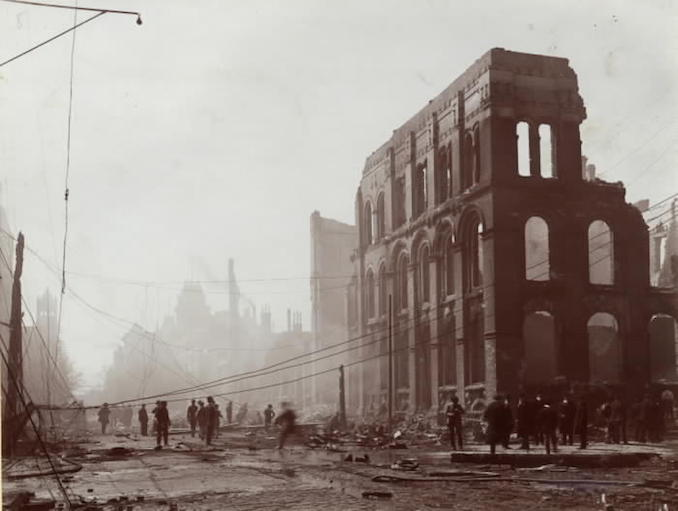 1904 - aftermath of fire, Front St. W., w. from Bay St.