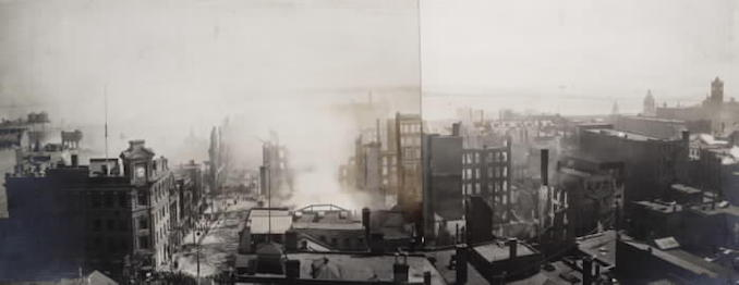 1904 - aftermath of fire, looking s. from s. of King St. W., betw. Yonge & York Sts