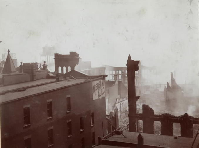1904 - aftermath of fire, looking s.e. from top of Telegram Building