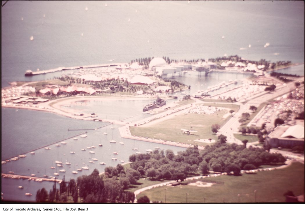 1980s - Aerial views of Fort York, Exhibition Place and Ontario Place.