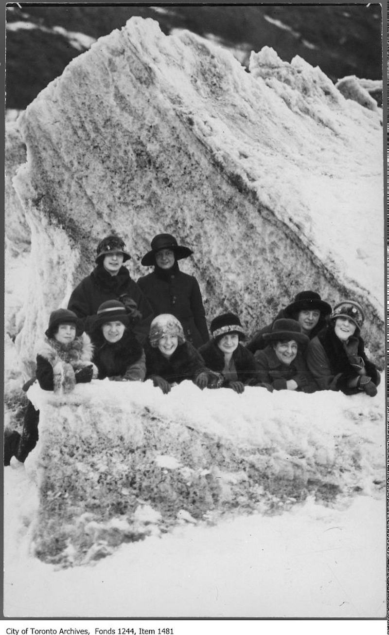 1910? - Group on ice formations at Kew Beach