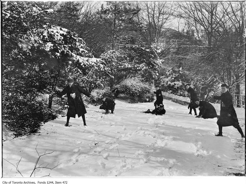 1912 - Snowball fight in Rosedale Ravine