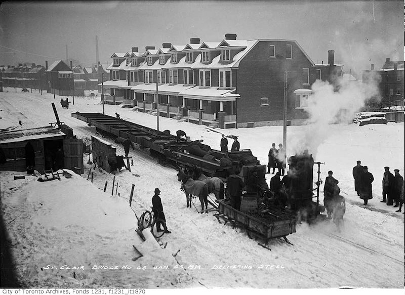 1914 - jan 23 - St. Clair Avenue - Wells Hill bridge, delivering steel copy