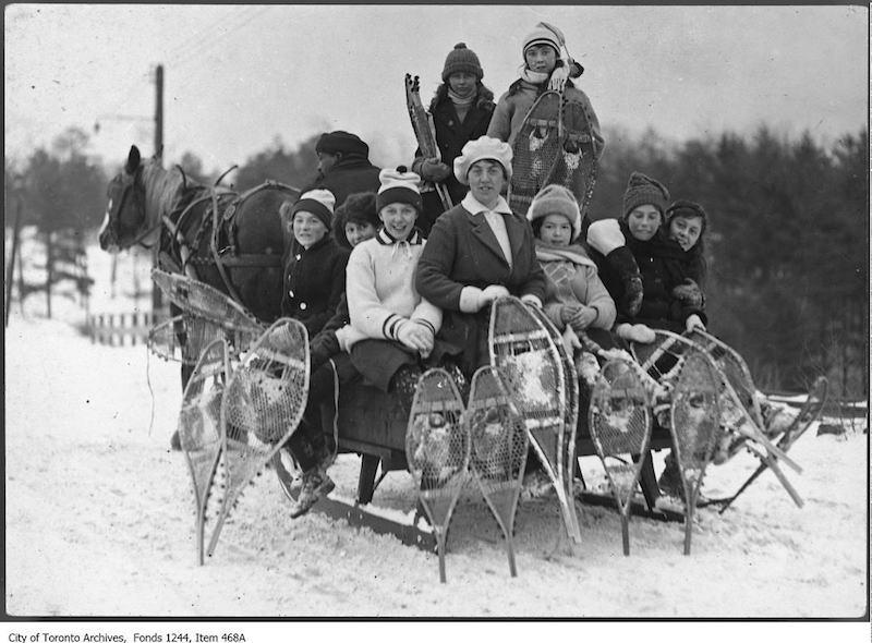 1920 - Group of snowshoers on horse-drawn sleigh