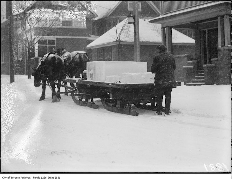 1924 - Iceman delivering ice in snow-storm