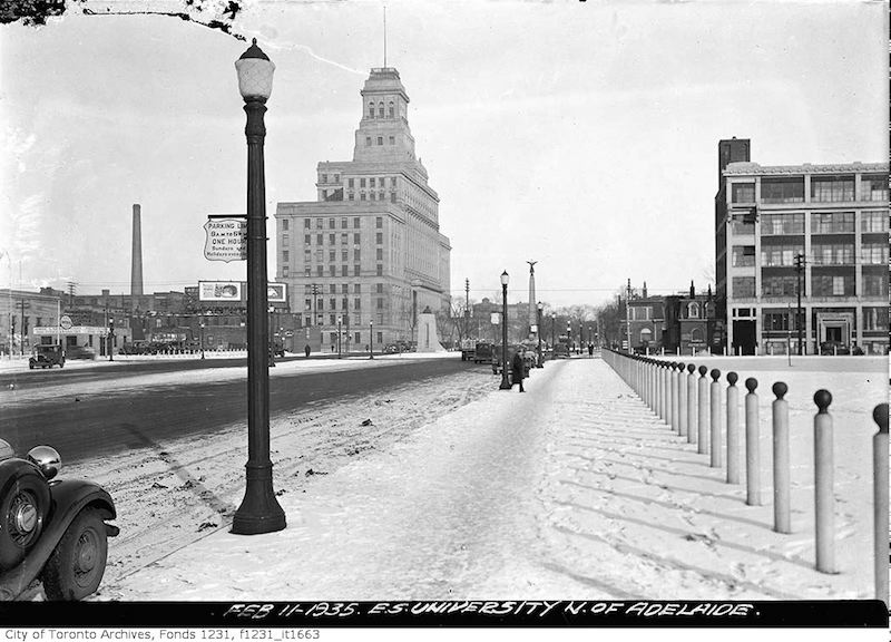 1935 - feb 11 - East side of University Avenue north of Adelaide Street