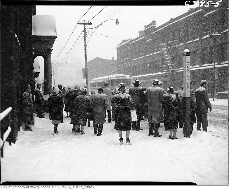 1961 - jan - King Street West near John Street during snow storm