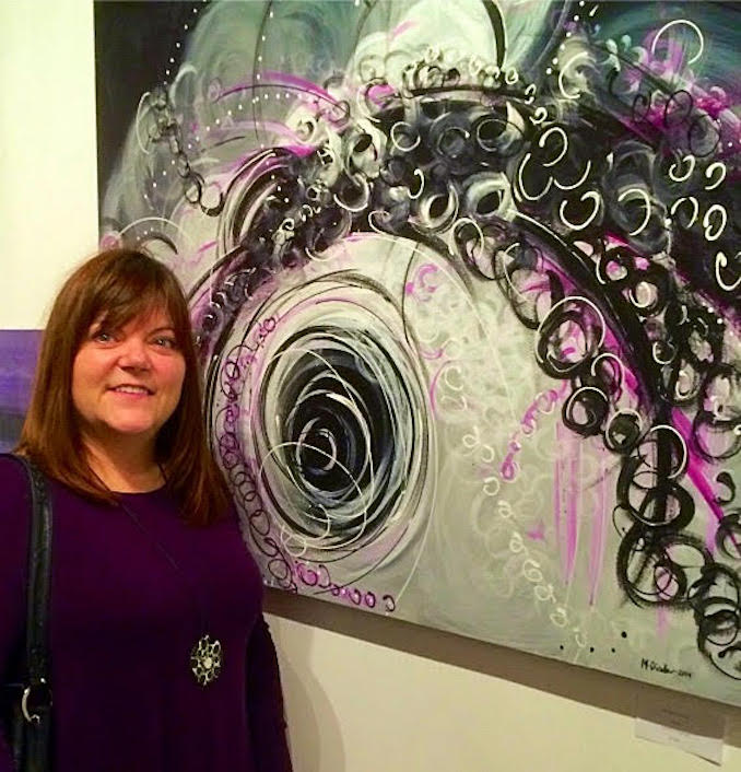 Michelle Dinelle - Pictured here with my painting Abyss at the Super Wonder Gallery, November 22, 2015