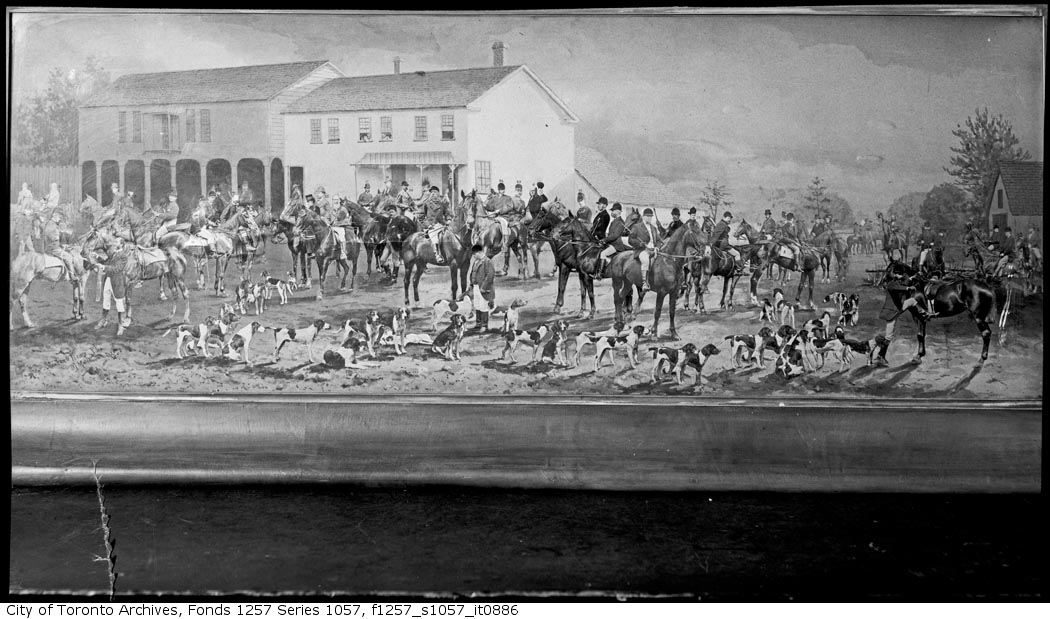 1877 - The Toronto Hunt Club, A Meeting of the Club with the Hounds in 1877 - Hunting Photographs