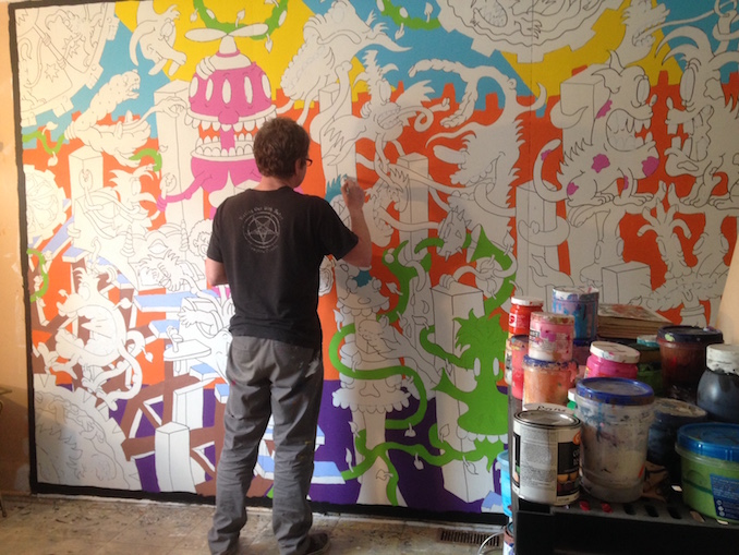 Back at work - then in the afternoon its back on whatever project I happen to be doing this will be a 28' mural for Aurora Montessori School - Runt