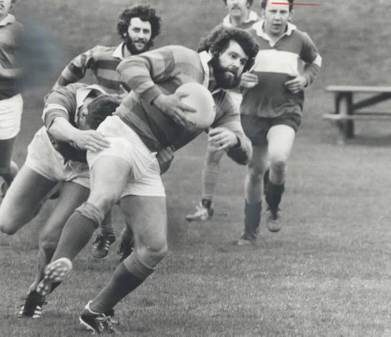1978 - Burlington player is tackled from behind in morning rugby match against Buccaneers