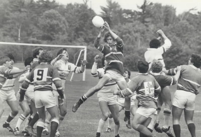 1982 - This Chinguacously player went high up for the ball during this line out in the game against Monarch Park at North York's Sunnybrook Park yesterday