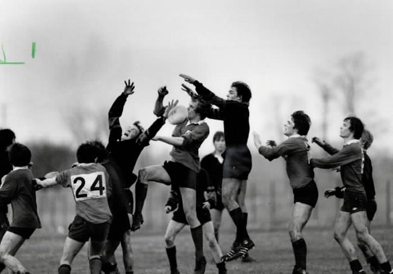 1983 - Players from Brecon College in Wales (light tops) play Dunbarton High School rugby team on return of visit