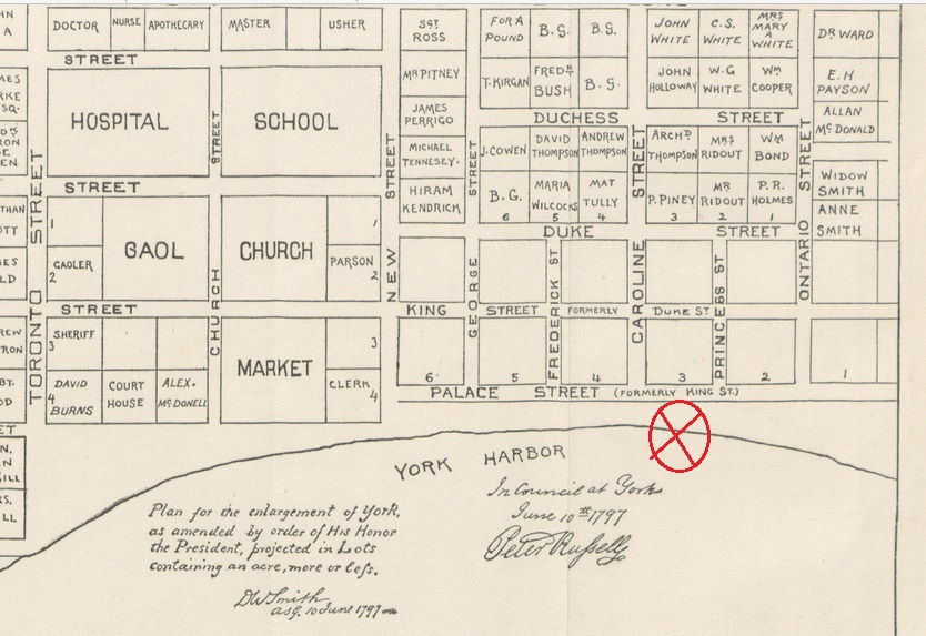 1797 Plan for York showing 177 Front St E, courtesy of Time Space Condos VIP