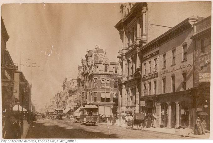 1890 - King Street looking east across Yonge Street