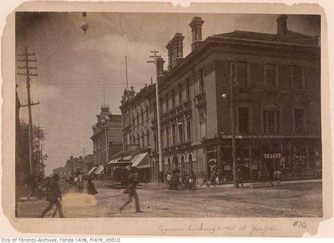 1890 - Queen Street West looking west from Yonge Street