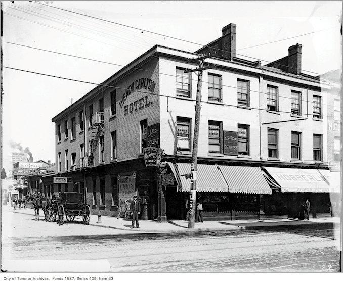 1900 - 1919 - The New Carlton Hotel, Leslie and Co., proprietors, 155 Yonge Street at Richmond St. E., s.e. corner