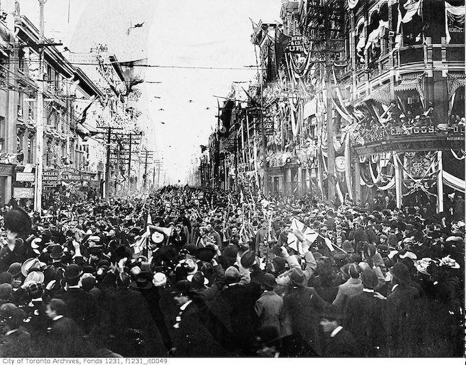 1901 - Boer War, C Company return, King Street east from Yonge Street