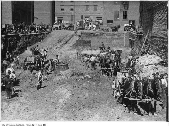 1903 - Preparing foundations for new J.J. Foy building, Front Street