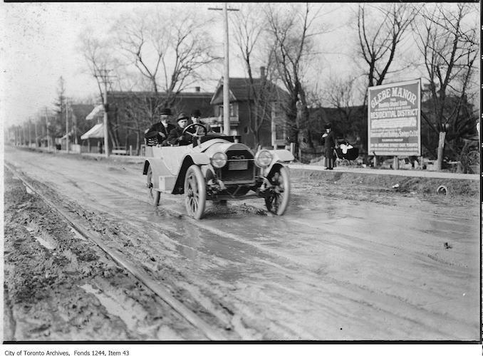 1910 - Car on muddy Yonge Street north