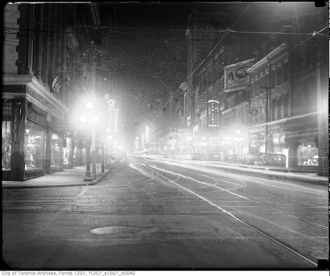 1930 - Yonge Street and Adelaide Street at night