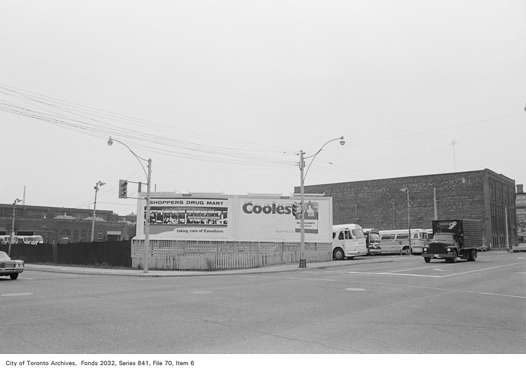 S.E. corner of Front and Sherbourne, Toronto in 1972