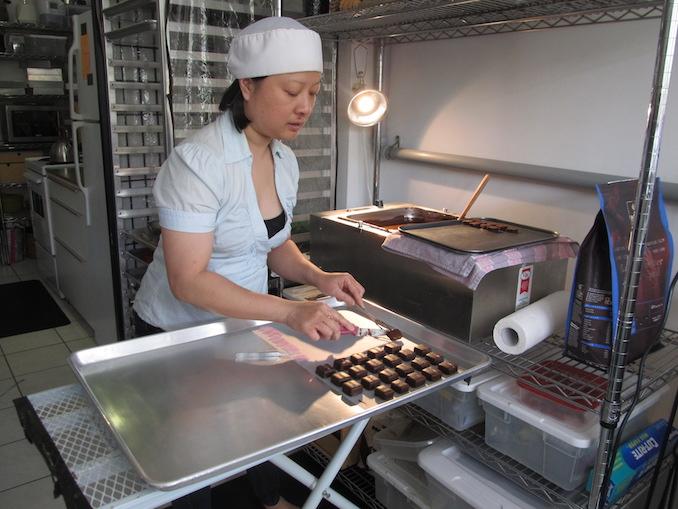 Truffle making at Odile Chocolat, 829 Dundas West