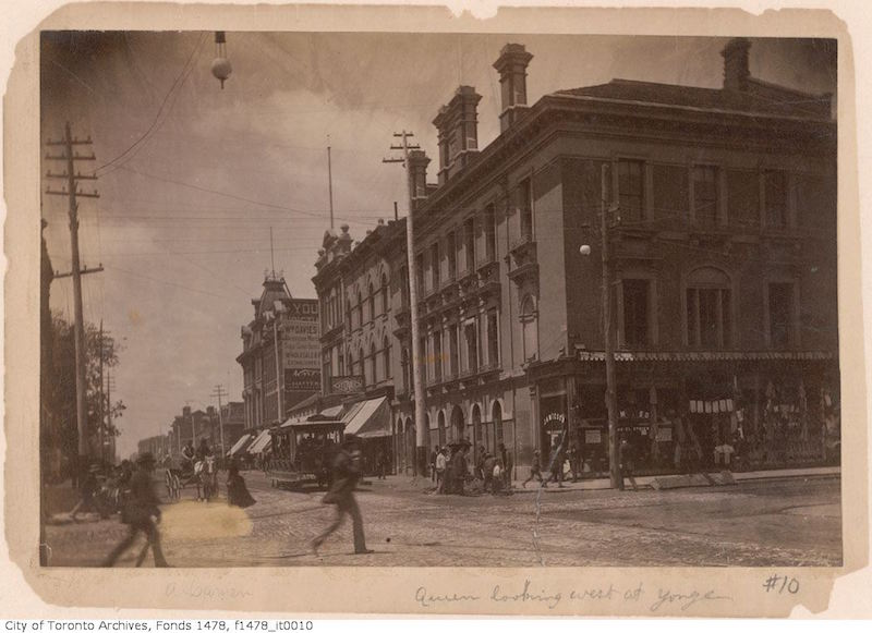 1885 - 95 - Queen Street West looking west from Yonge Street