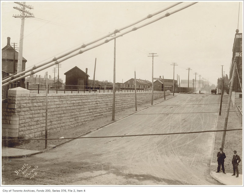 1898 - Queen Street subway looking south down Dufferin Street