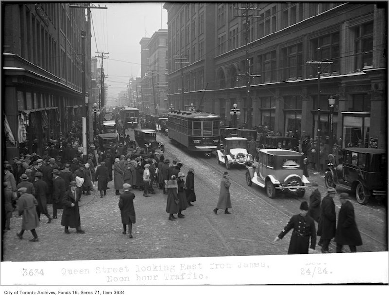 1924 - Queen Street, looking east, from James, noon hour traffic